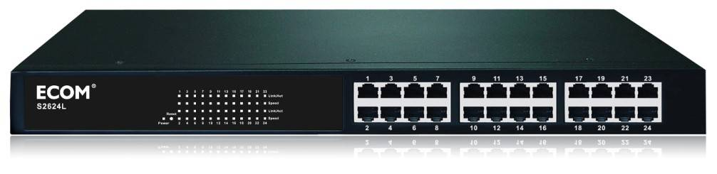 ECOM S2624L 24-port Managed Switch Supports Port Mirroring Trunking Spanning Tree and TFTP Software