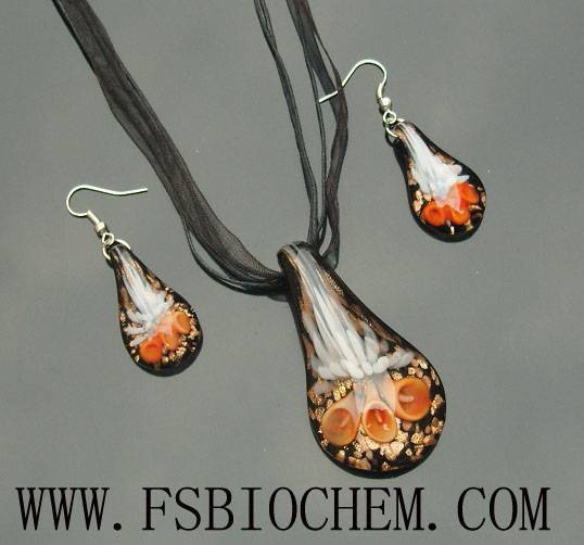 Lampwork Glass Pendant & Earrings Sets,Lampwork Glass Pendant Necklace Sets