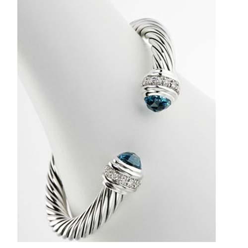 925 Silver 7mm Blue Topaz Color Classics Cable Bracelet Cuff