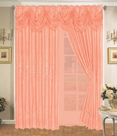 Polyester Sheer Embroidery Curtain with Lining