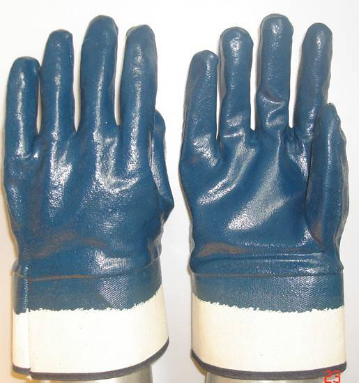 Blue Nitrile coated/dipped glove safety cuff