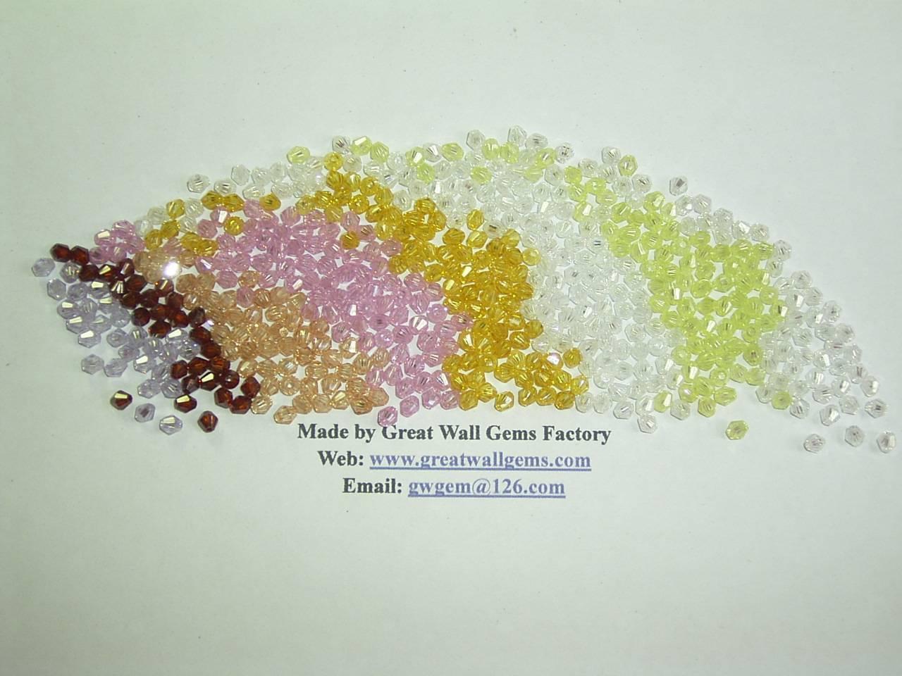 cubic zirconia (CZ) bicone beads