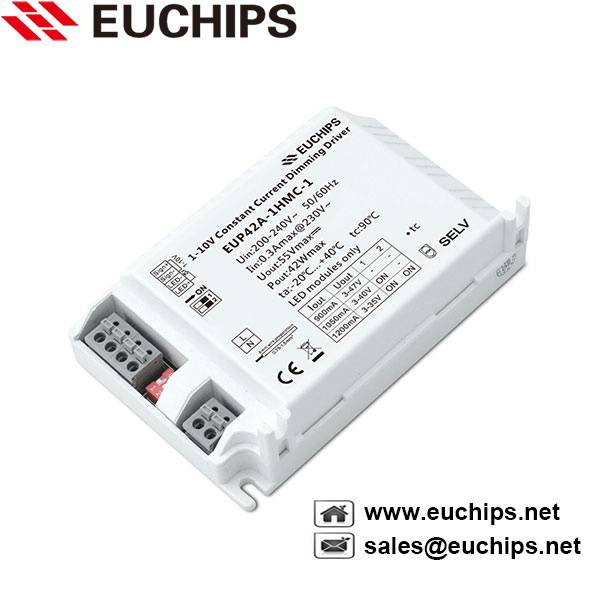 42W 900/1050/1200mA 1-10V dimming constant current led driver EUP42A-1HMC-1