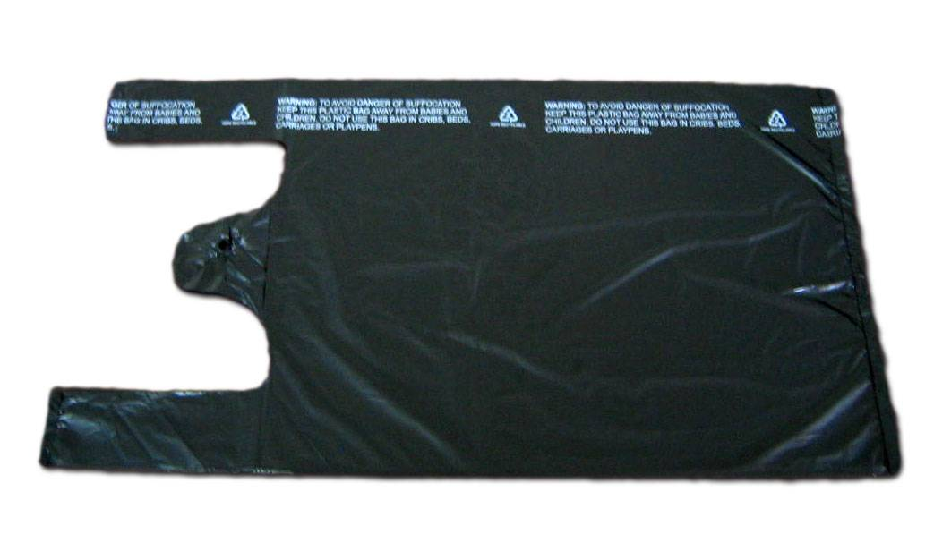 HDPE Black Plastic T-Shirt Retail Shopping bag