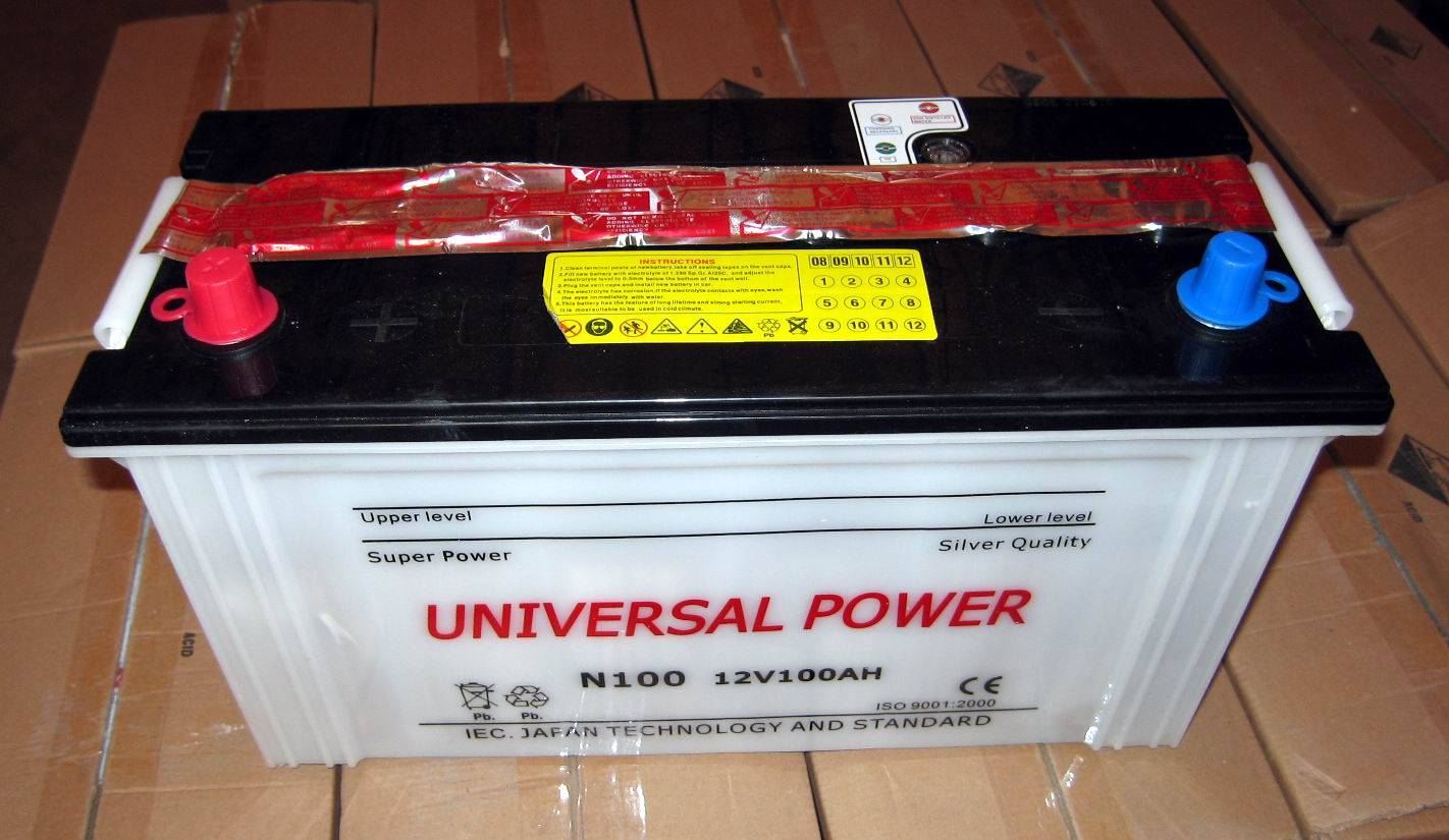 Dry charged auto battery 12V 100Ah N100