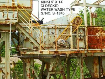 USED KINKI HORIZONTAL TYPE 5' X 14' VIBRATING SCREEN S/NO. S-1645 (3 DECKS) WITH MOTOR