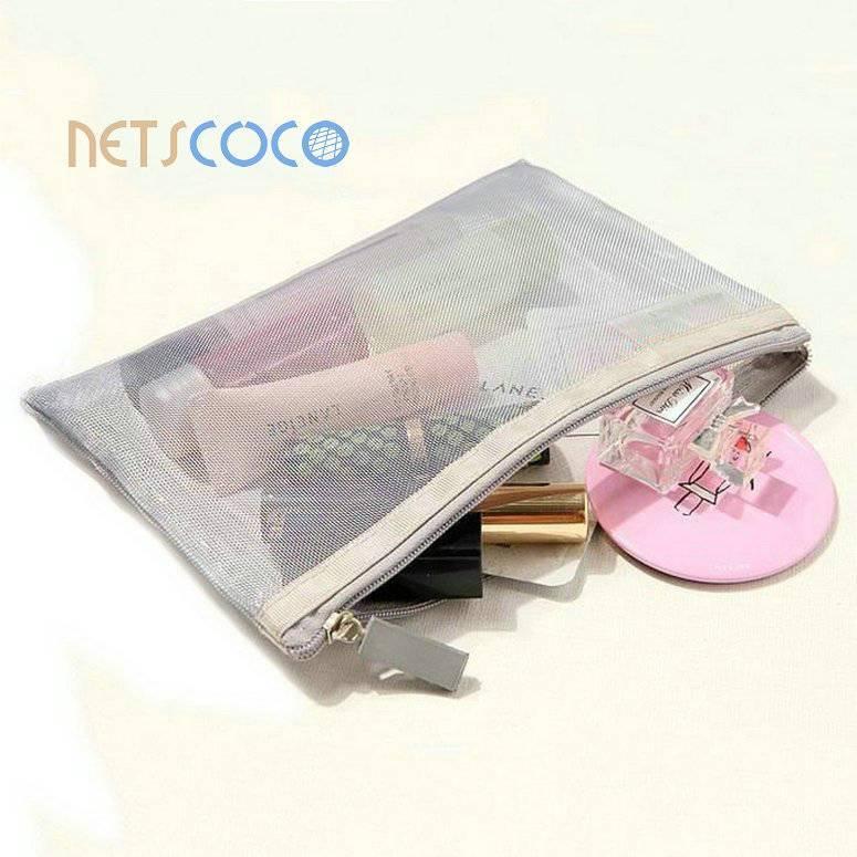 Netscoco-Rainbow Stripe Nylon Mesh Make Up Bag Cosmetic Bag