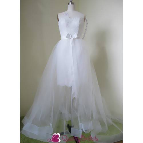 2 IN 1 LACE&TULLE STRAPLESS SWEETHEART NECKLINE WEDDING DRESS W2621