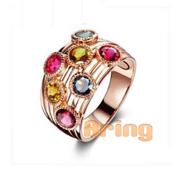 Jewelry Factory Solid 18k 9k 14k Gold Multi-Color Gemstones Rings