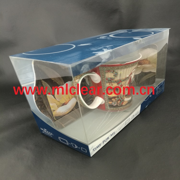 PVC clear cermaic cup packaging PET plastic mug packaging box PP coffee cup packaging