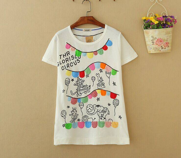2015 New Lady Animal Circus Short SleeveT-Shirt