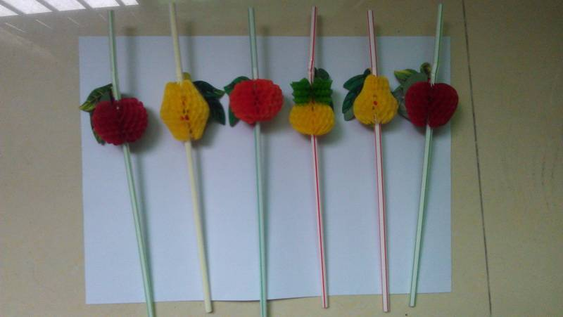 fruit cocktail drinking straw