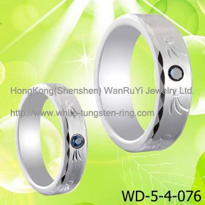 Dark Blue Gemstone Inlay Tungsen Jewelry Ring hot sales