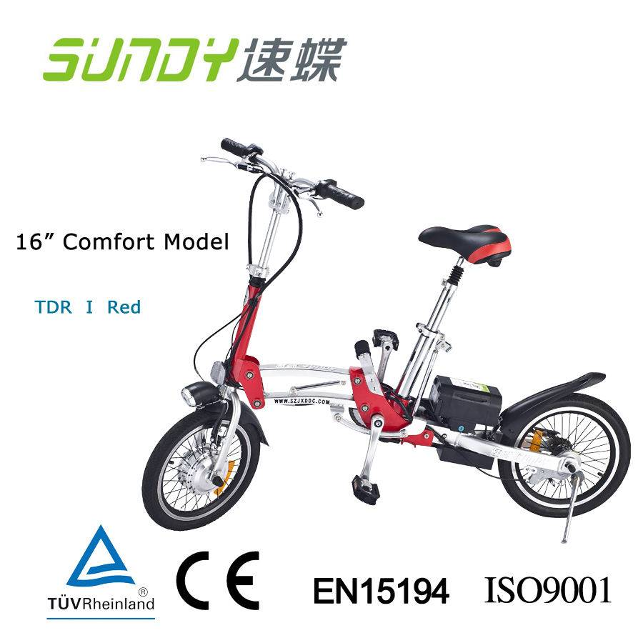 16-inch Mini Folding Electric Bicycle-red
