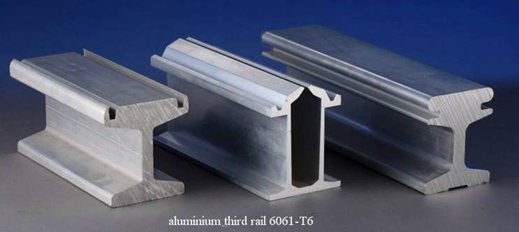 extruded aluminium third rail for metro system or monorail