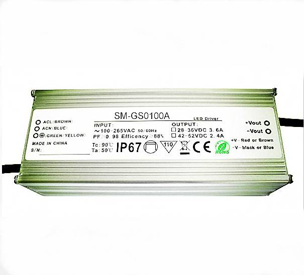 100w IP67 waterproof LED driver with 90% efficiency, NCC capacitor, 5 year warranty