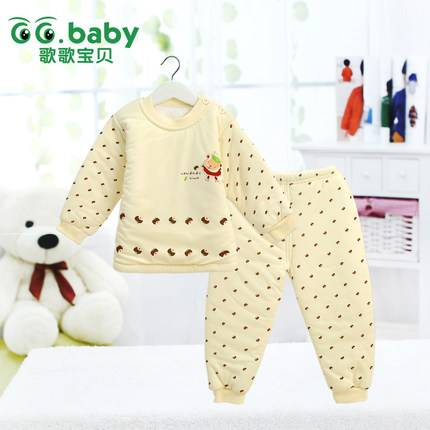 Autumn Winter Thermal Underwear Baby T-shirt Pant Suits Thickening Outwear Newborn Clothing Sets War