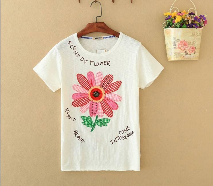 2015 New Lady Scent Of Flower Short SleeveT-Shirt
