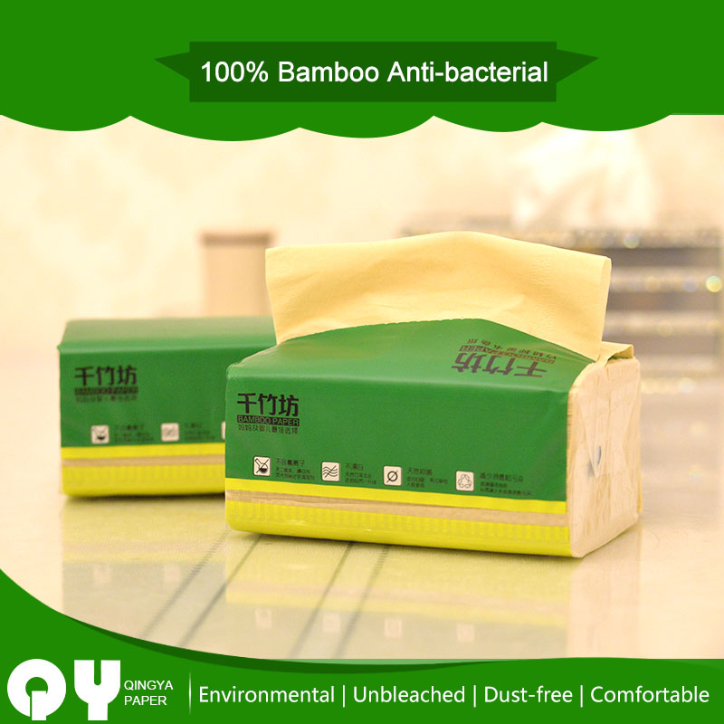 best quality unbleached bamboo pulp material facial tissue paper