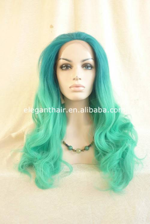 Heat resistant fiber green wave synthetic hair cosplay wig
