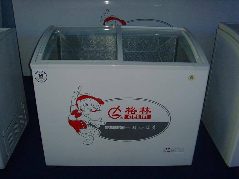 Curved glass door chest freezer