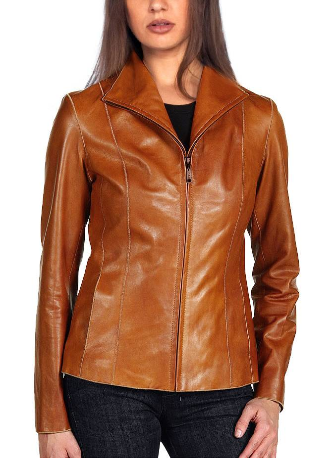 Women petite jacket butterscotch leather #12