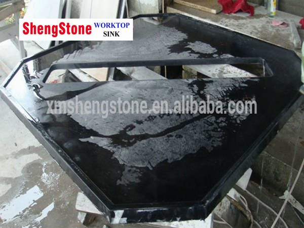 Octagon Black Epoxy Resin Custom Work Countertop