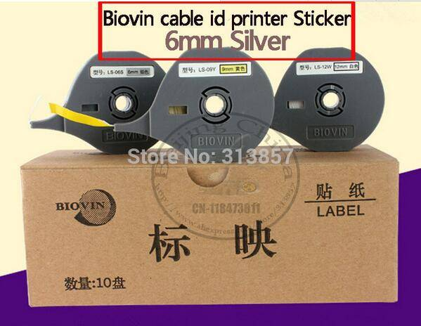 Ink Ribbon Printer supplies original label tape Silver 6mm For BIOVIN Cable Marker ID Printer S650