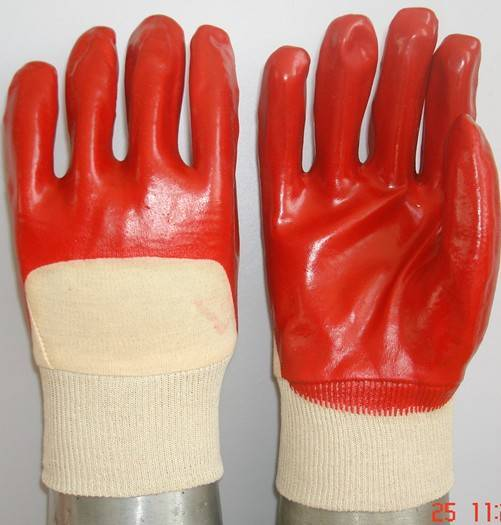 Red PVC coated/dipped glove interlock liner,open back