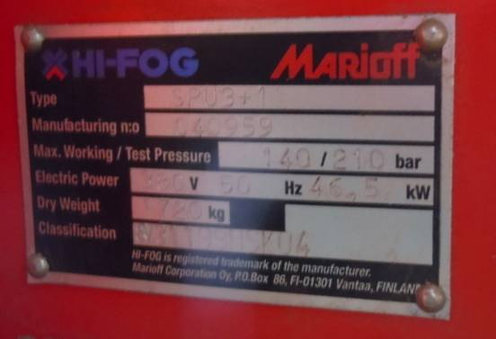 HI FOG MARIOFF water mist fire protection For sale