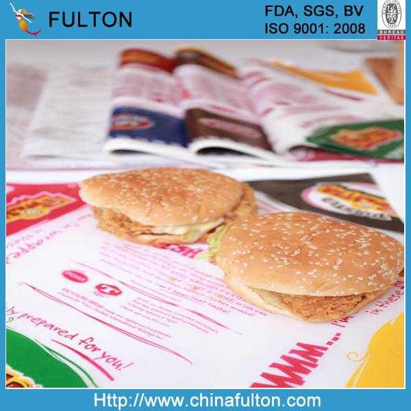 Sell High Quality Food grade KIT 7 greaseproof paper Hamburger wrapping paper