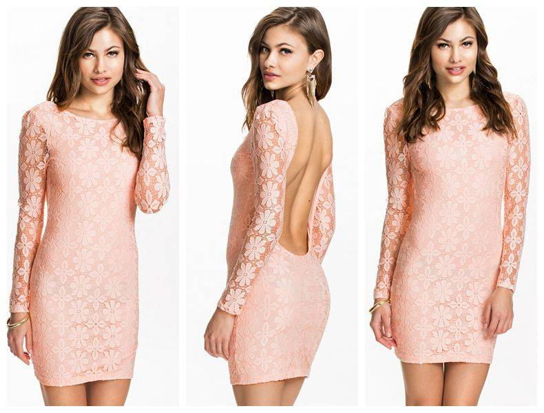 Light Pink Backless Lace Club Dress 2014 New Arrival Top Selling