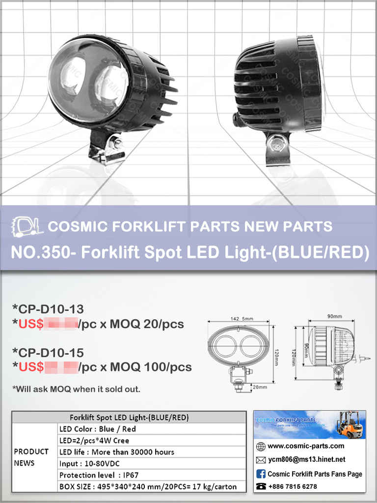 Cosmic Forklift Parts New Parts No.350-Forklift Spot LED Light-(BLUE/RED)