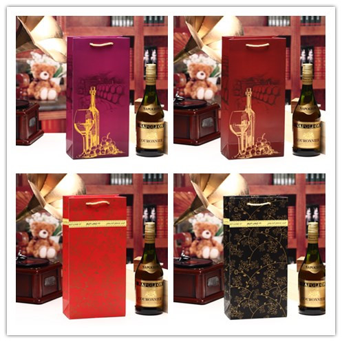 Wine Bottle Paper Gift Promotion Bags- Single and Double Bottle Red Wine Alcohol Liquor Spirits Bag