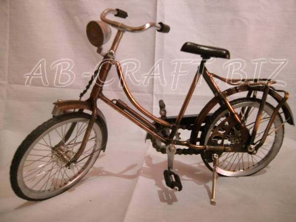 Miniature Bicycle Girl Brass Copper Iron