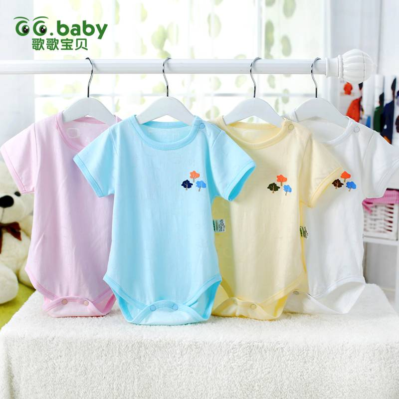 Newborn Summer Short Sleeve Baby Body Suit Unisex Infant Bodysuit 4-Color Baby Girl Bodysuits