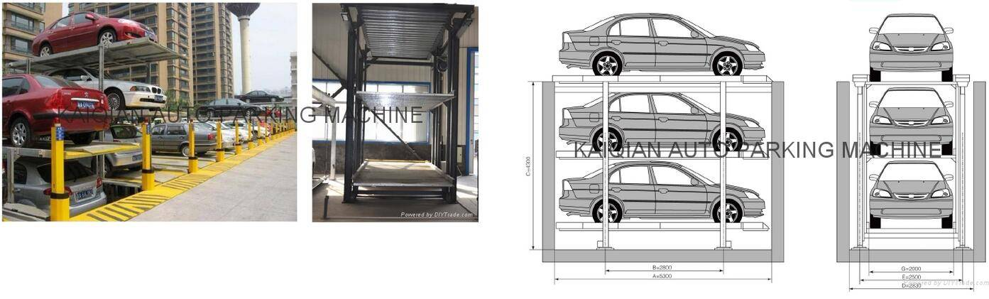 THREE LEVEL SIMPLE CAR PARKING EQUIPMENT WITH PIT