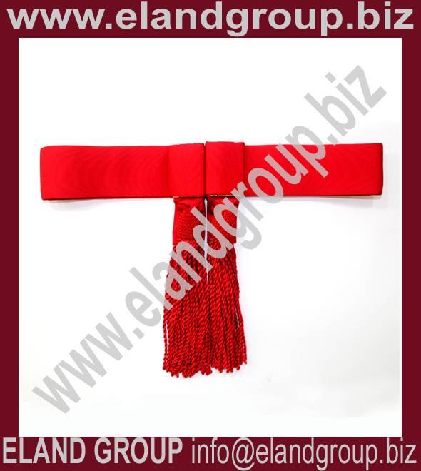 Army Sash, Waist Belt, Red Waist Sash