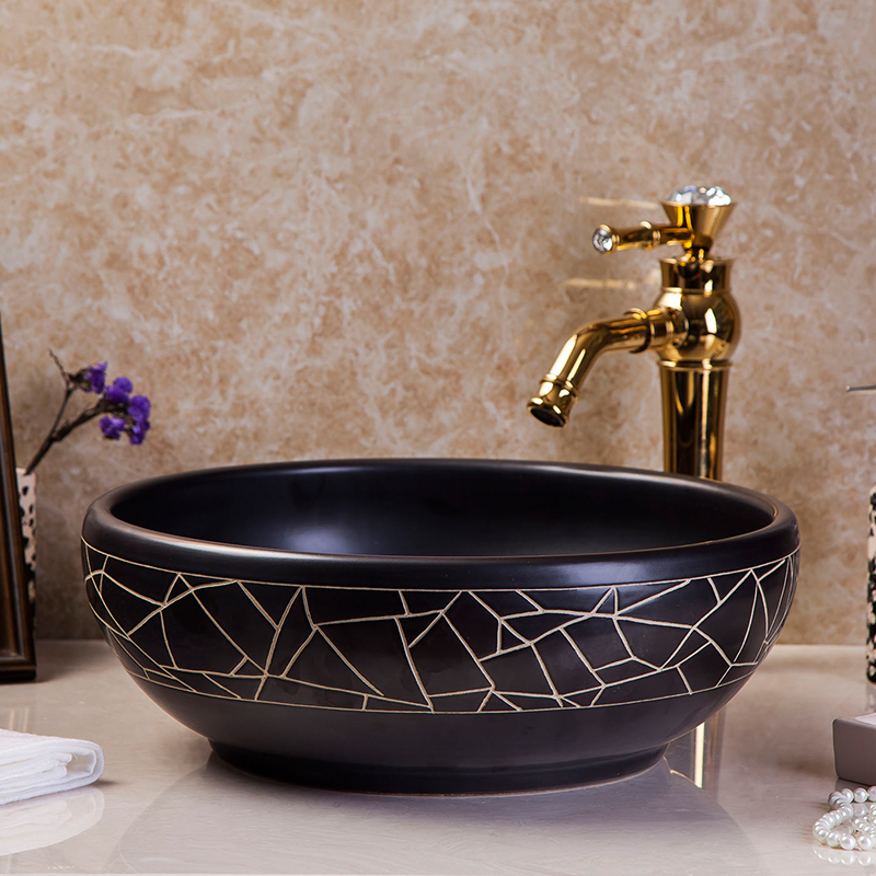 Fresh Elegant High-end Classical Handmade Above Countertop Ceramic Bathroom Vanity Wash Basin Sinks