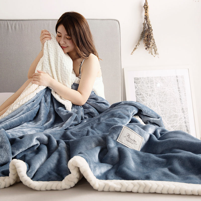 Solid Color Thickening double layer Blanket 200x230cm Milk velvet coral autumn winter warm blanket
