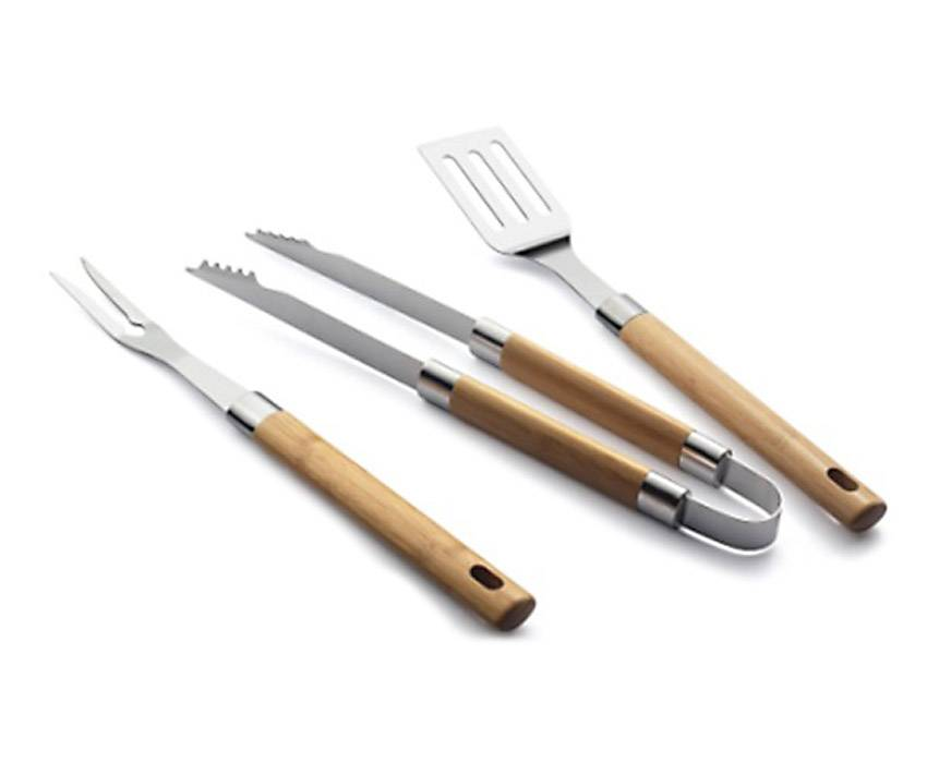 BBQ Tool Set Of 3 With Bamboo Handle grilling accessories