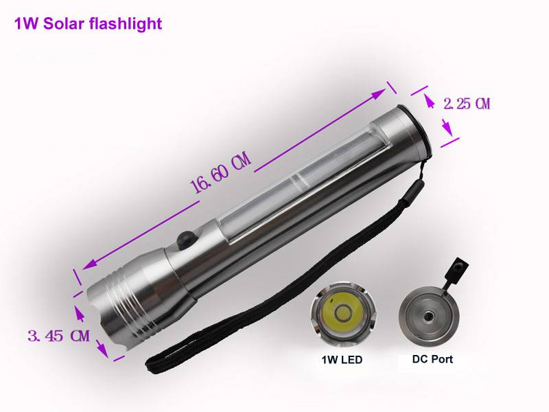HQ-111A 1wtt high brightly LED solar aluminum rechargeable flashlight