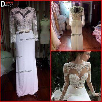 Surmount Real Sample 2015 Beautiful Venice Lace Top Chiffon Skirt Designer One Piece Party Dresses F