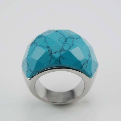 China cheap wholesale rings jewelry stainless steel blue gemstone ring