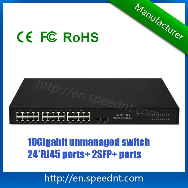 In stock 10Gigabit Ethernet Switch UK3712-26TA wire-speed non-blocking switching with 24 RJ45 ports