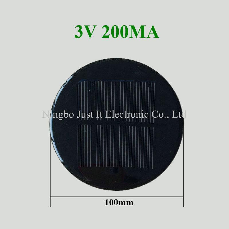 3V 200mA 0.6W Diameter 100mm Round Mini Solar Cell