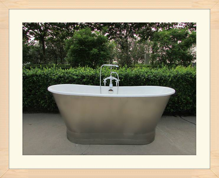 67 rowley cast iron bateau tub with stainless steel skirt