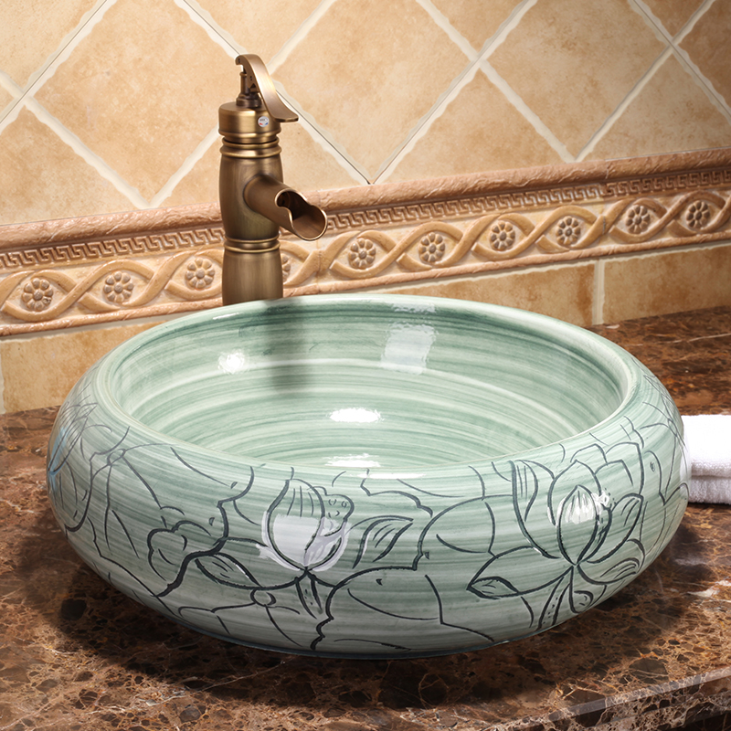 Antique High-end Classical Above Counter Top Washbowl Handmade Bathroom Ceramic Wash Basin Sinks
