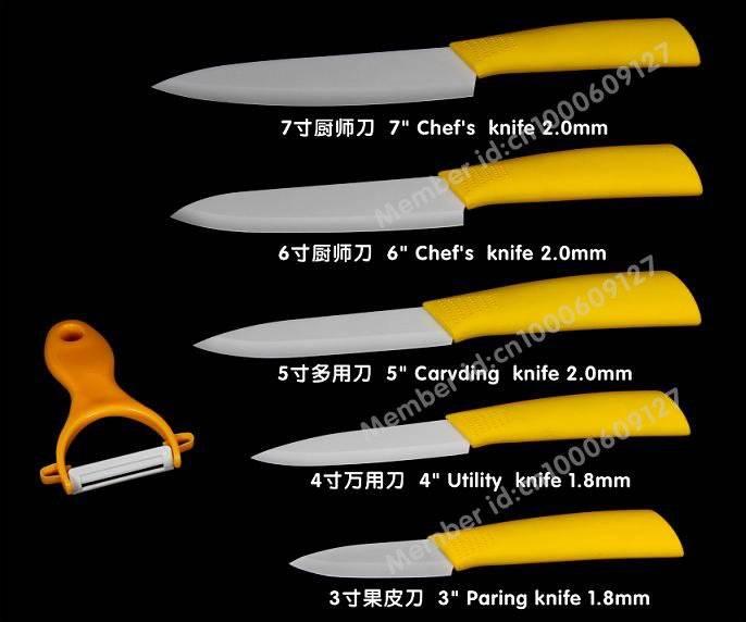 Wholesale Zirconia ceramic knife,3 fruit knife,4utility knife,5chic chef's knife,6 chef's knife,