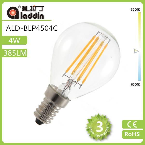 CE ROHS approval energy saving light e14 3000k e12 b22 led bulb 4W led filament bulb